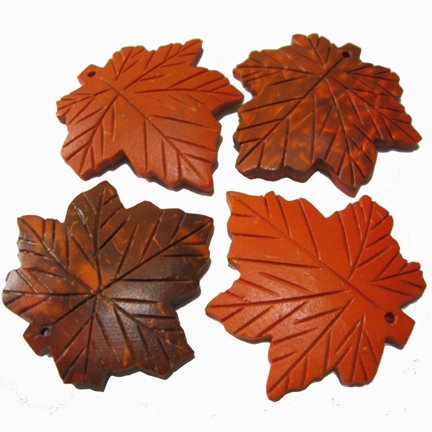 Carved Orange Coco-Maple Leaves