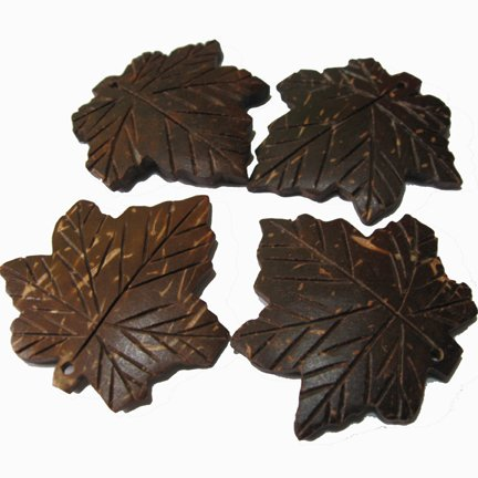 Carved Natural Brown Coco-Maple Leaves