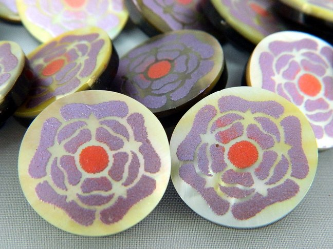 Lilac Flower Emboss-Painted MOP Buttons