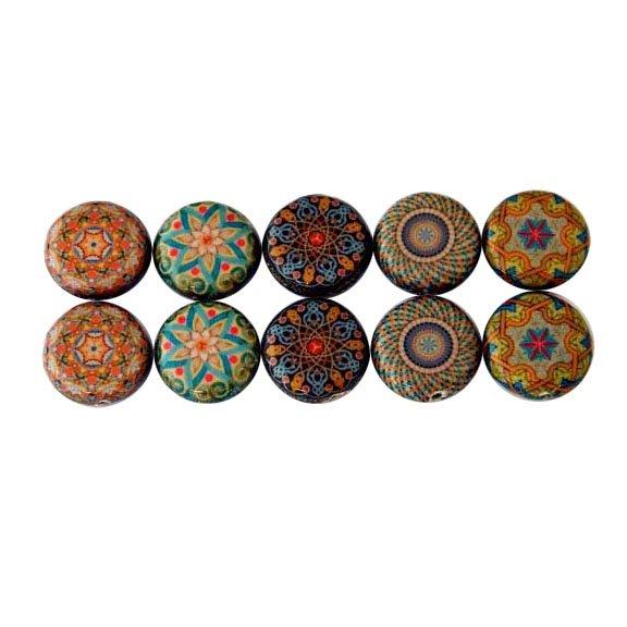 Mandala 7, Decoupage Beads, Oriental Mandala, 15mm Round