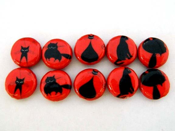 15x5mm Decoupage Red Cats