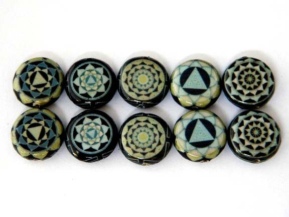 15x5mm Round black, Dark and Light Blue Meditation Kaleidoscope