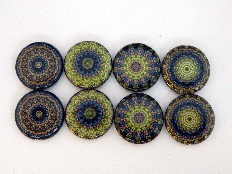 Kaleidoscope Green Decoupage Beads