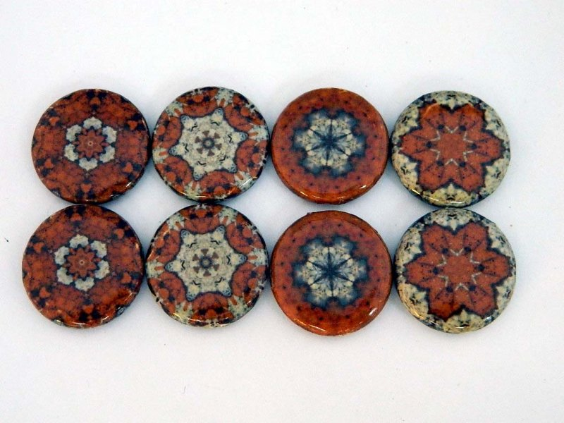 30x6mm Round Kaleidoscope Brown Decoupage Beads