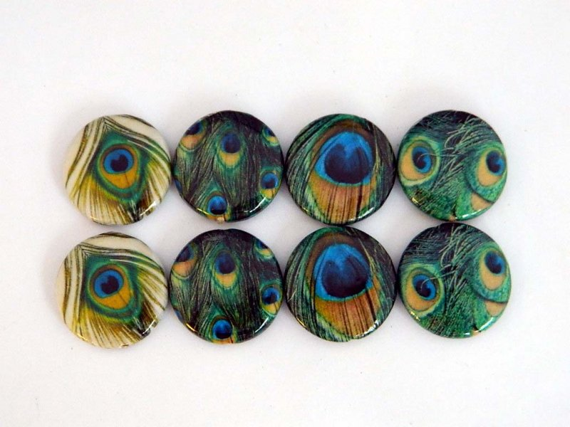 30x6mm Round Peacock Feathers Decoupage Beads