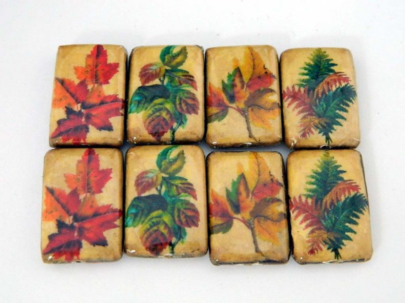 Leaves and Flowers, Decoupage Beads, Leaves, Domino, Rectangle