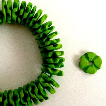 15mm discs Lime Green Coco Shell Flowerettes