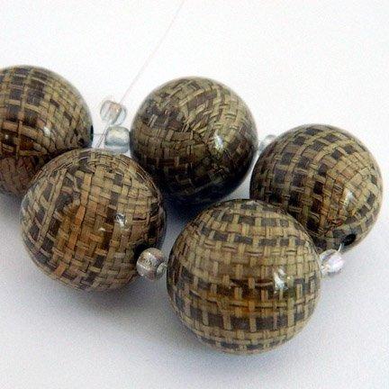 Rafia Beads, 18mm, Brown