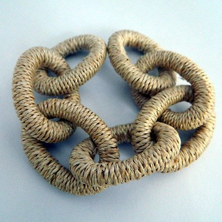 Abaca Links, Large, Natural, 8 inches