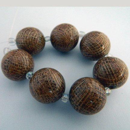 Sinamay Beads, Brown, 18mm, Laminated