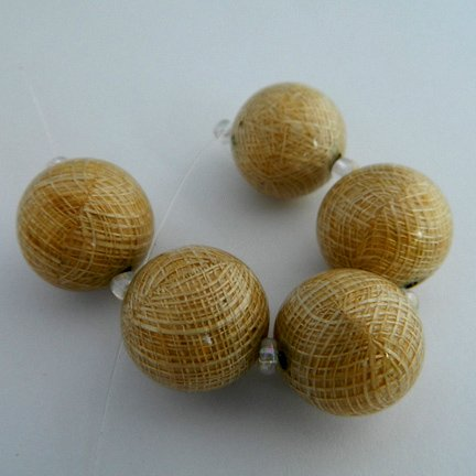 Sinamay Beads, Natural, 18mm, Laminated