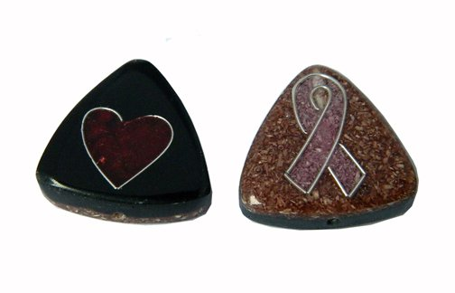 Sawdust, Recycled, Reversible Beads, 25x7mm Tria, Breast Cancer Awareness