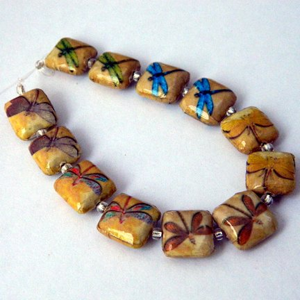 Decoupage Beads, Dragonflies, 12mm, Square