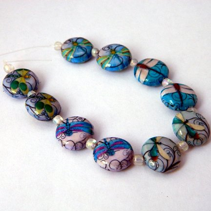 Decoupage Beads, Dragonflies, 15mm, Round