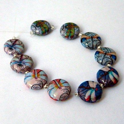Decoupage Beads, Dragondflies