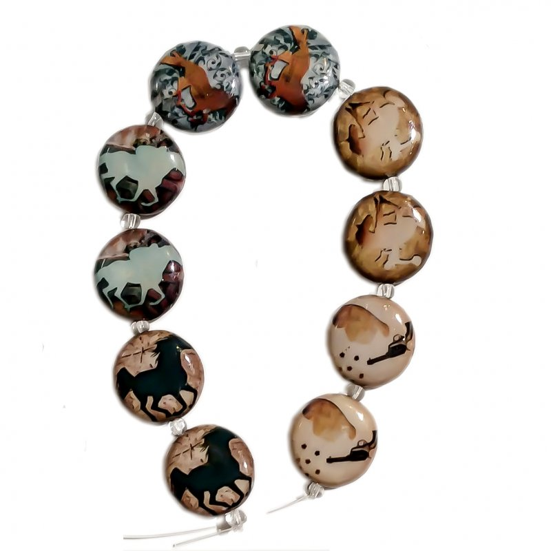 Horses, Decoupage Beads, Shades of Brown, 20x20x6mm Round