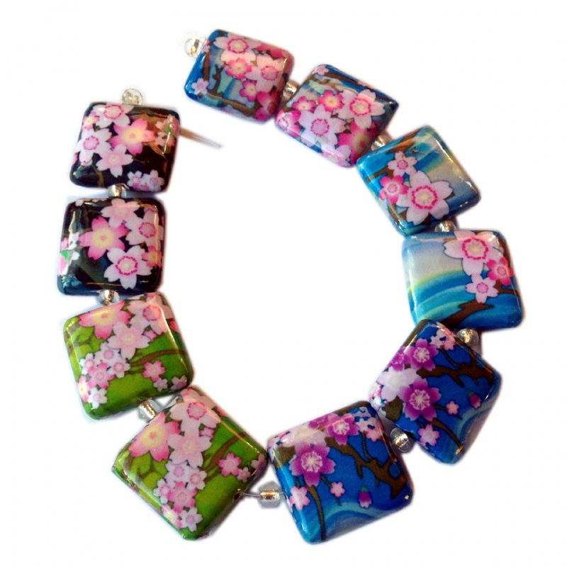 Cherry Blossoms, 20mm Square, Decoupage Beads