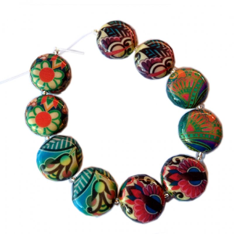 Decoupage Beads, Paisley A, 15mm Round
