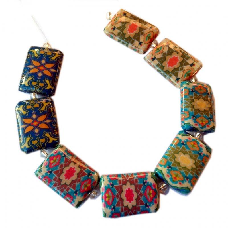 Decoupage Beads, Paisley, Morocco Domino A, Rectangle