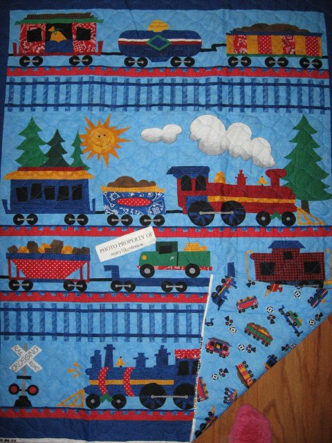 Train engine cars tracks baby crib quilt fabric panel you for Train print fabric