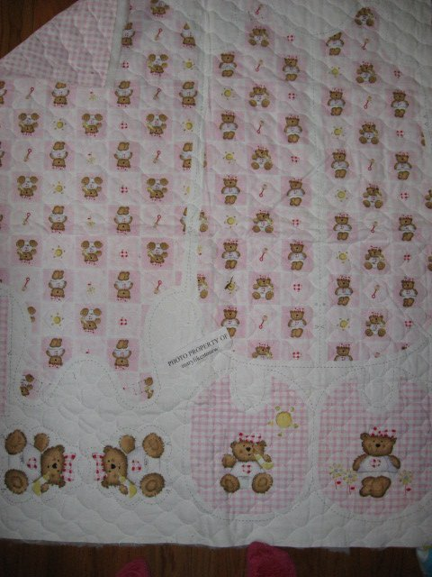 Flannel Pink thick Quilted Baby Bunting Bag and Bib Teddy Bear Baby Outfit 2 sew