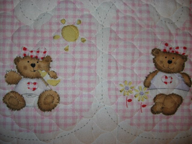 Image 1 of Flannel Pink thick Quilted Baby Bunting Bag and Bib Teddy Bear Baby Outfit 2 sew