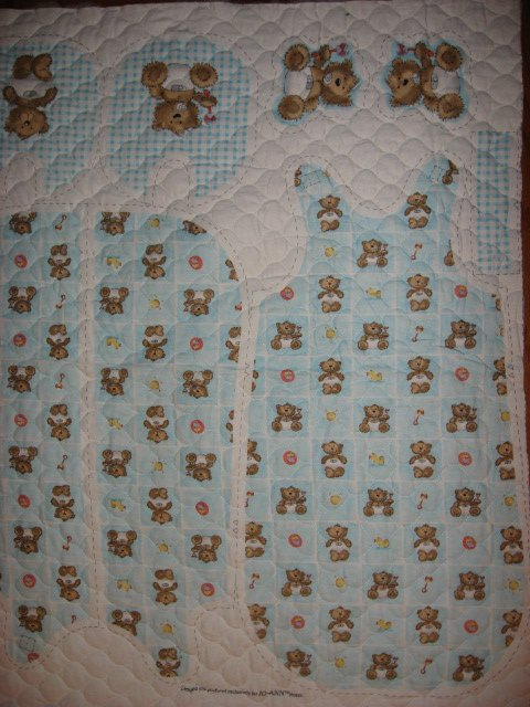 Image 0 of Flannel Baby Blue Quilted thick Baby Bunting Bag Bib Teddy Bear Outfit 2 sew