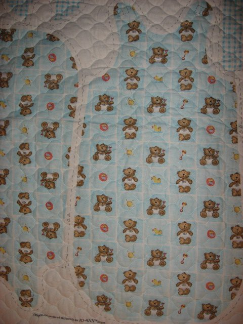 Image 1 of Flannel Baby Blue Quilted thick Baby Bunting Bag Bib Teddy Bear Outfit 2 sew