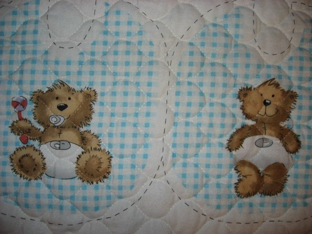 Image 2 of Flannel Baby Blue Quilted thick Baby Bunting Bag Bib Teddy Bear Outfit 2 sew