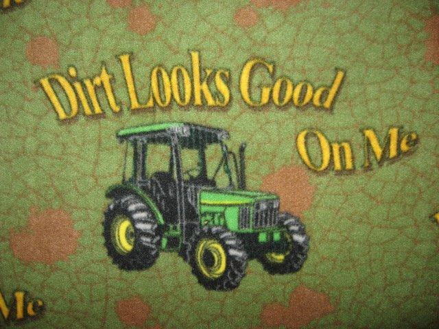 Image 1 of Fleece Blanket John Deere Tractor Dirt Looks Good Quality Anti pill handmade