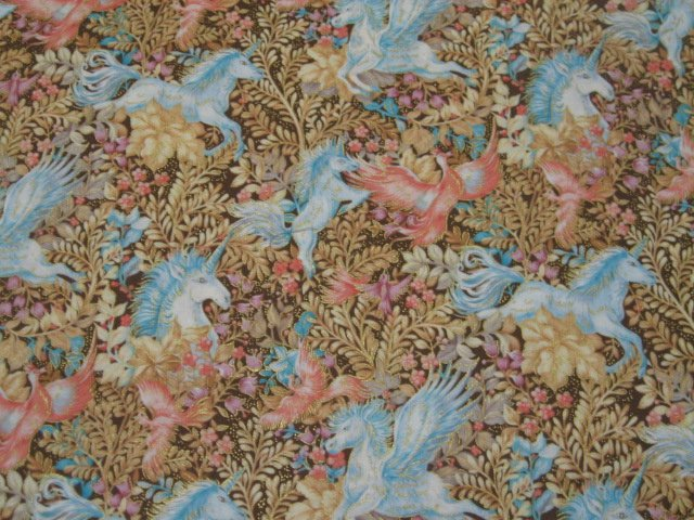 Image 0 of Unicorn Pegasus Horse Phoenix Bird Gilded Cotton Quilt fabric 1/2 yard RARE