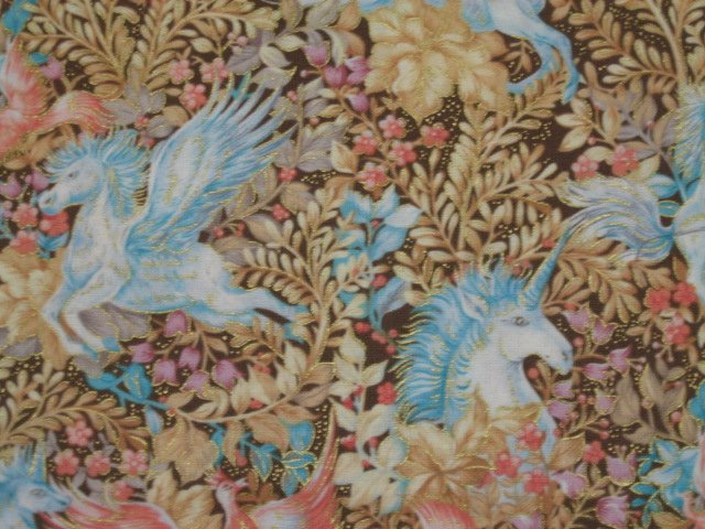 Image 1 of Unicorn Pegasus Horse Phoenix Bird Gilded Cotton Quilt fabric 1/2 yard RARE