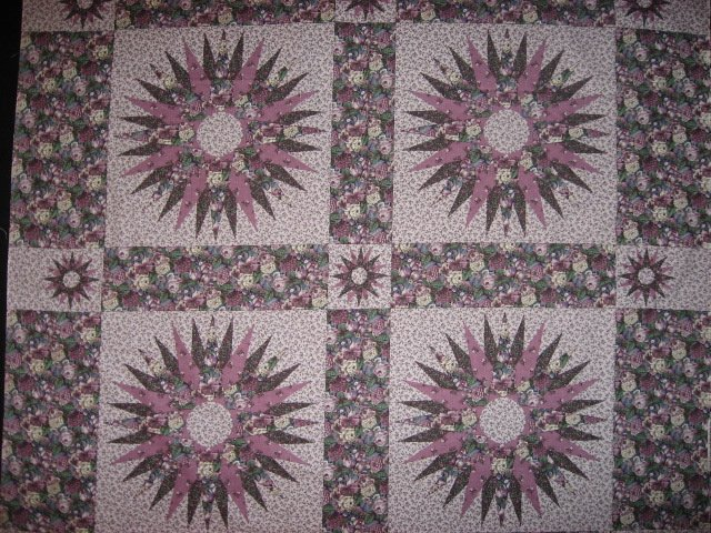 Lilac Roses Cheater quilt Fabric pillow panels set of four