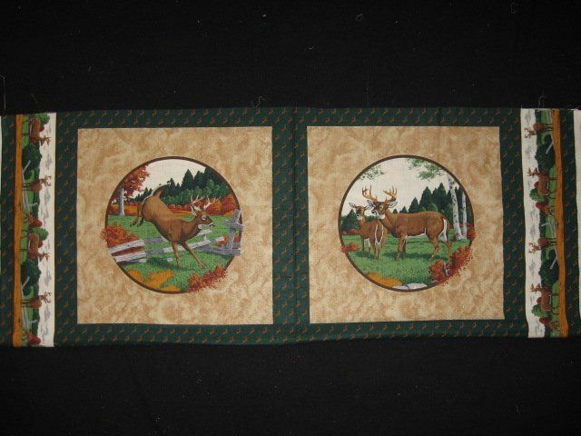 Deer Buck and Doe in the Fall Fabric pillow panels set of two