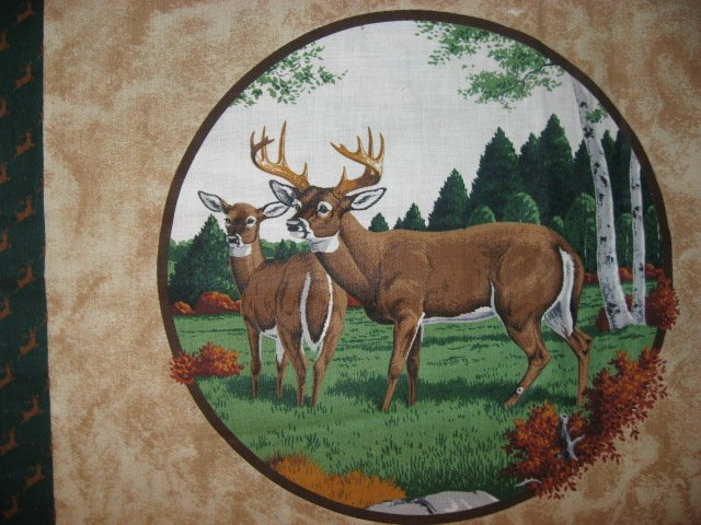 Image 1 of Deer Buck and Doe in the Fall Fabric pillow panels set of two