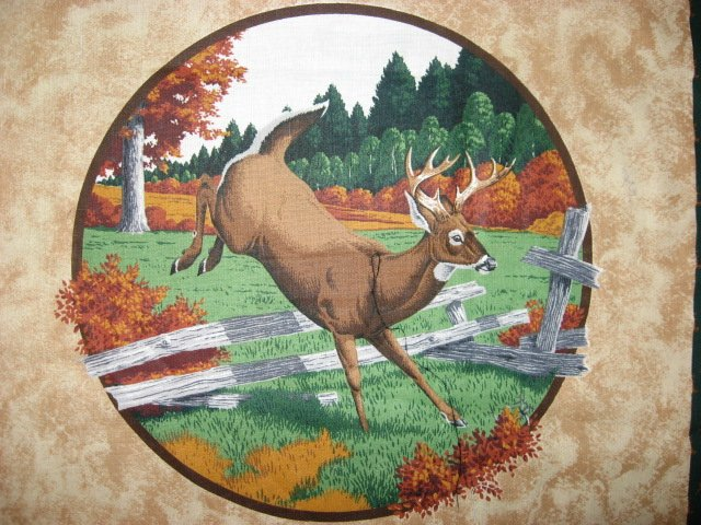 Image 2 of Deer Buck and Doe in the Fall Fabric pillow panels set of two