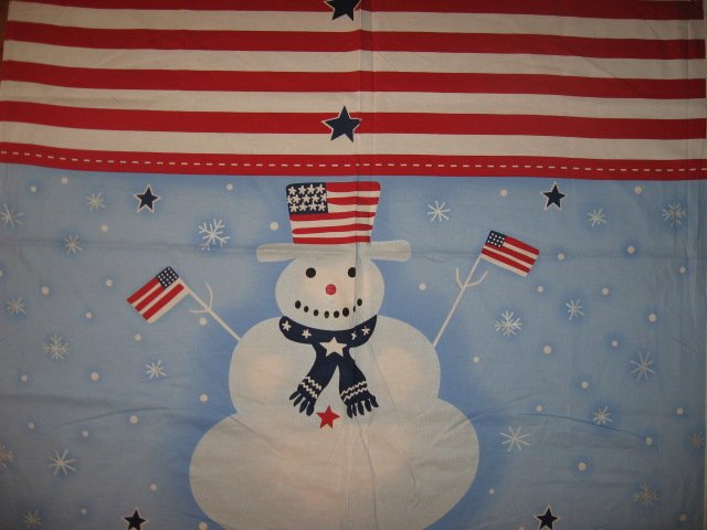 Image 0 of Snowman Cotton Fabric Flag or Quilt Wall Panel to sew /