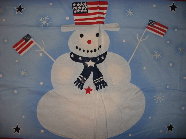 Image 1 of Snowman Cotton Fabric Flag or Quilt Wall Panel to sew /