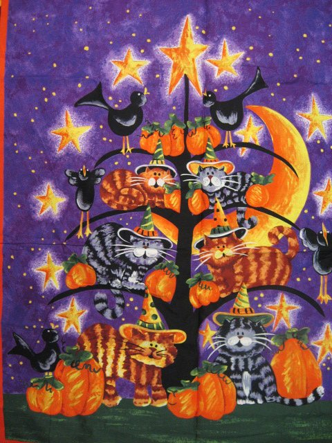 Cats witch hats Pumpkins Crows purple Cotton Fabric Wall Throw Panel to sew /