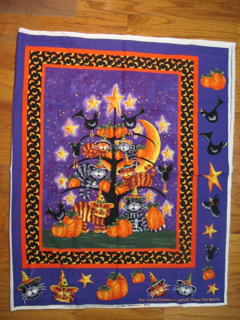 Image 1 of Cats witch hats Pumpkins Crows purple Cotton Fabric Wall Throw Panel to sew /