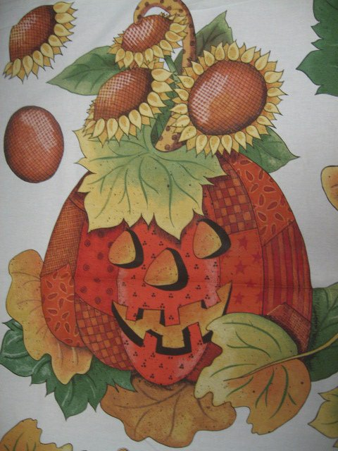 Image 1 of Daisy Kingdom Pumpkin and Sunflower Cotton Quilt Wall Throw Fabric Panel to sew