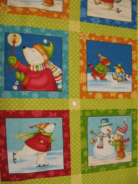 Image 1 of Animals at the park Cotton Fabric Quilt Wall Panel Winter squares to sew