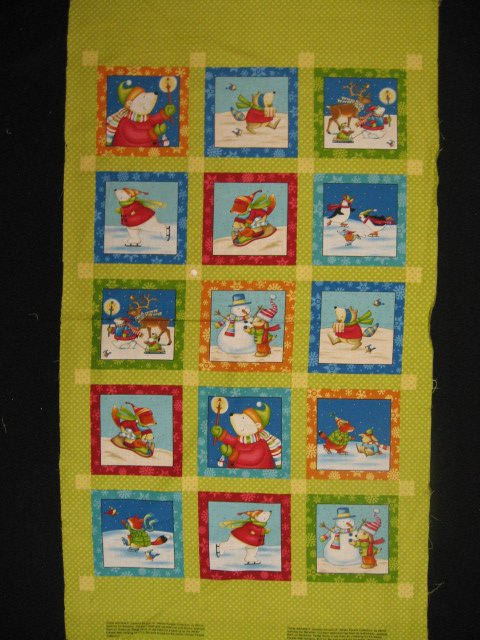 Animals at the park Cotton Fabric Quilt Wall Panel Winter squares to sew