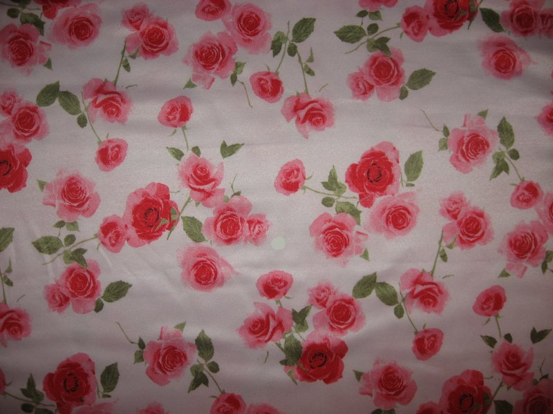 Rose flowers on pink Polyester satin Fabric By The Yard 58 Wide