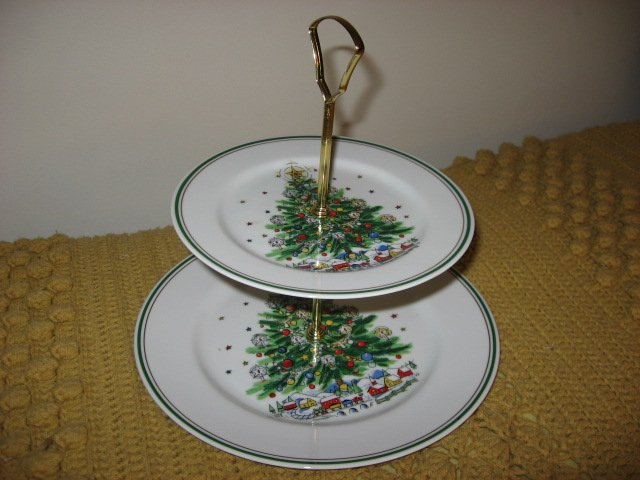 Image 0 of Salem Porcelain Christmas Tree tidbit tray two tier serving plates
