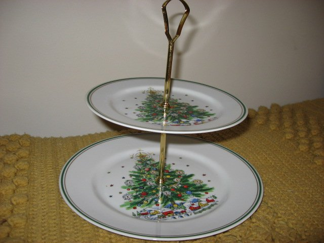 Image 1 of Salem Porcelain Christmas Tree tidbit tray two tier serving plates