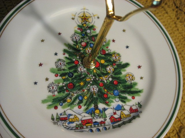 Image 2 of Salem Porcelain Christmas Tree tidbit tray two tier serving plates