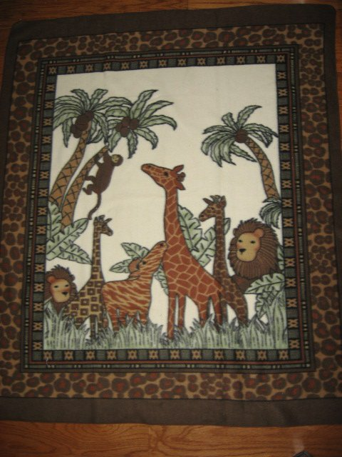Image 0 of Monkey Giraffe Lion Coconuts Super Soft rare Brown Child bed size fleece blanket