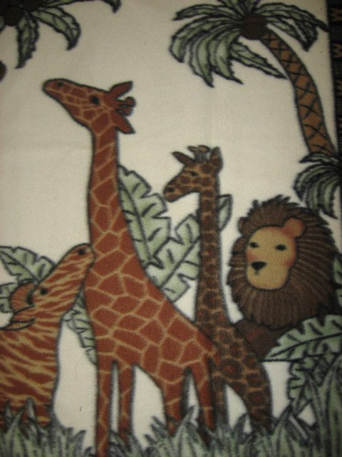Image 1 of Monkey Giraffe Lion Coconuts Super Soft rare Brown Child bed size fleece blanket