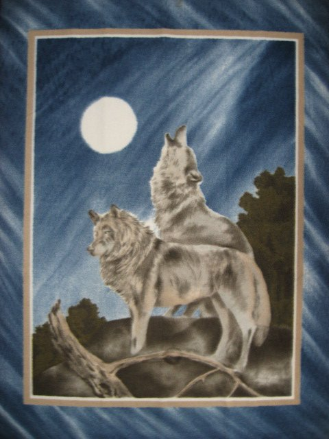 Image 0 of Wolf howling at the moon northern lights fleece blanket